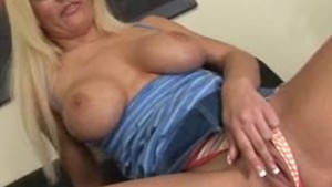 Blonde strips and plays