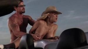 Hot blonde fucked hard at the desert!