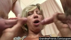 Mature lady fucked hard by young guys
