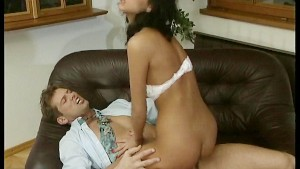 Hairy pussy swallows a cock