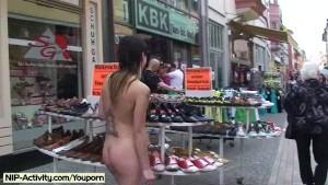 Jeamie - Cute Brunette Has Fun In Public Streets