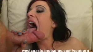 Hot Chick take multiple cocks and cumshots