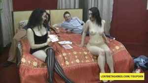 2 girls playing strip games for their BFs