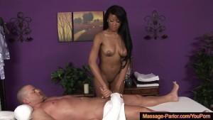 Hot massage therapist sucks her client dry