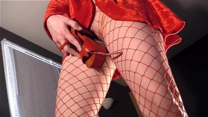 Masturbating in pantyhose with stiletto high heels