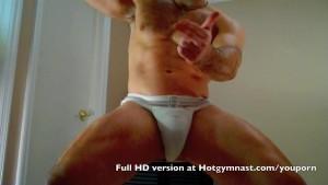 Hairy Cumming Football stud with dirty jockstrap