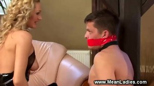 Domina pegs her pathetic subjects ass