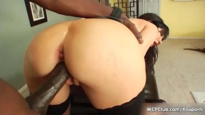 Busty brunette gets her pink pussy pounded by an huge black cock
