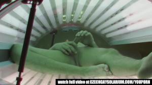 Secret footage of two spy cameras in public solarium