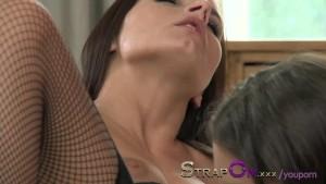 StrapOn Double dildo delights for brunette lesbian babes