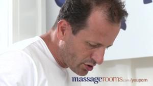 Massage Rooms Plump mature blonde milks masseuse s hard cock with her ass