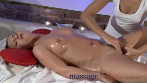 Massage Rooms Lovely boobs are oiled and squeezed before a strong orgasm