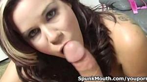 Hot babe with giant boobs Rachel Solari tittyfucked hard then gets cum facial