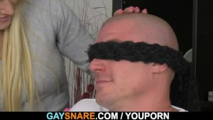 Bald hunk is snared and doggystyled