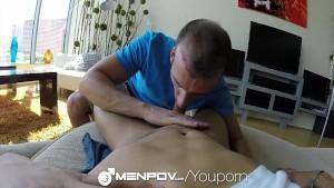 HD MenPOV - Hunk picks up a guy for a backseat hand job