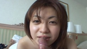 Asian tramp sucking hard on the fat dick real pro