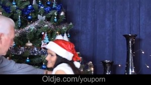 Celibate oldman finds alive sex toy gift under the x-mas tree
