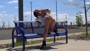 Audrey, play whit toy at the train station