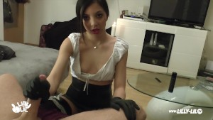 LATEX TEEN GIRL DOMINATES COCK WITH WHIP AND GLOVES HANDJOB