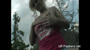 Teen blonde flashers outdoor striptease of young amateur exhibitionist Emma