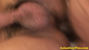 Pissing asian bareback anal after watersports
