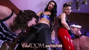 Femdom Goddesses Pegging Virgin Ass On Halloween
