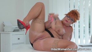 Euro milf Alex stuffs her pussy with a cock shaped dildo