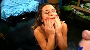 Bukkake Brunette Facial Sperm Everywhere!