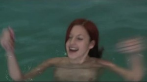 redhead gf having fun in the pool