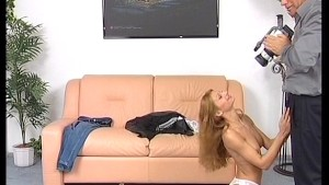 redhead strips for cameraman then strips him