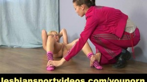Nude gymnastics workout and strapon fucking