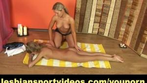 Lesbian yoga performed by two flexible girls