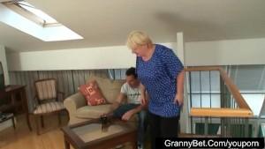 Huge titted grandma pleases a stranger