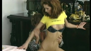Hot young brunette gets her daily serving of cock at the dinner table.