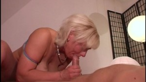 Blonde with big jugs gives hellacious BJ