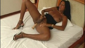 Ebony tranny jerking off - Venality Productions