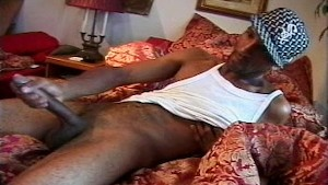 Big load from long ebony dick