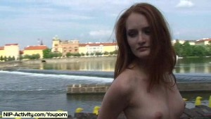 Denisa - Sweet Redhead Babe Naked in Public