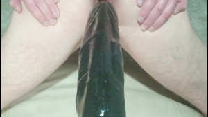 HUGE massive monster dildo anal fucks gay arse cum