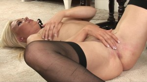 Young hot & horny blonde slut rubs her tight wet pussy to orgasm
