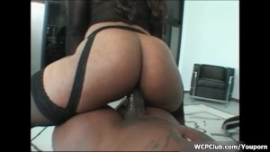 Horny ebony whore rides a big black cock with her greedy cunt