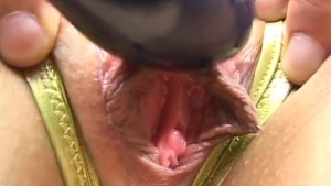 Two horny guys play with a sexy AV models trimmed pussy before they fuck her