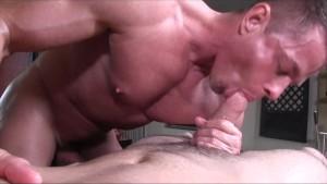 GayRoom older masseur rubs and probes big dick youngster