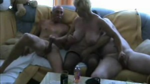 Homemade video of really hot blonde ex girlfriend sucking two big cocks at the same time