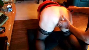 Fisting my wifes gaping cunt from behind