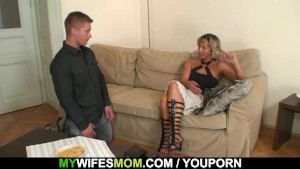 Hot mother-in-law sucks and rides his horny dick