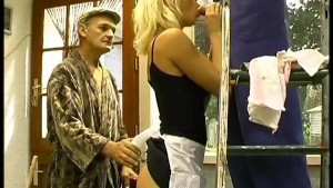 Blonde babe fucked by an older man - Telsev