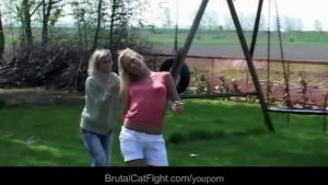 Hysterical blondes tear apart each other in a crazy fight to fuck a cock