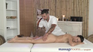 Massage Rooms Sexy babe is bathed before she is fucked with massive cock