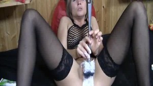 Extreme slut cleaning her snatch with a toilet brush
